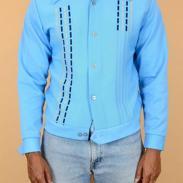 Vintage 70s Gaucho Blue Poly Shirt Jacket by MAWSUPPLY