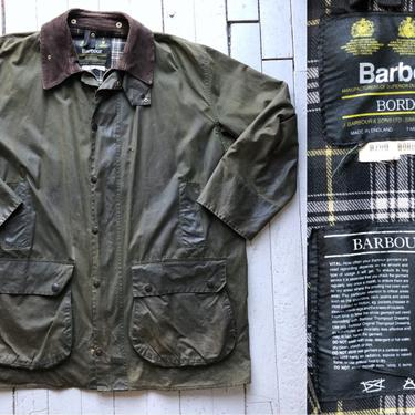 Vintage Barbour Waxed Canvas Jacket - A200 Border Coat - Forest Green - Men's Size XXL by HighEnergyVintage