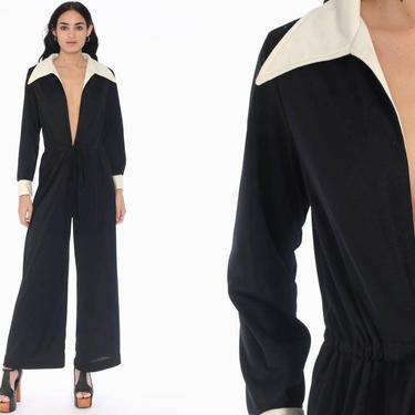 Black 70s Jumpsuit Bell Bottom Pants PLUNGE Neckline Boho Hippie Deep V Neck Front Zip Up Disco Bohemian Vintage Pantsuit Long Sleeve Medium by ShopExile