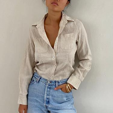 90s linen blouse / vintage oatmeal woven linen fitted button down pocket shirt blouse | S by RecapVintageStudio