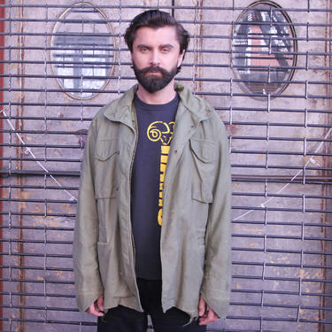 Green Military Jacket | Medium | Cold Weather Detachable Vest | Distressed Jacket | by HamletsVintage