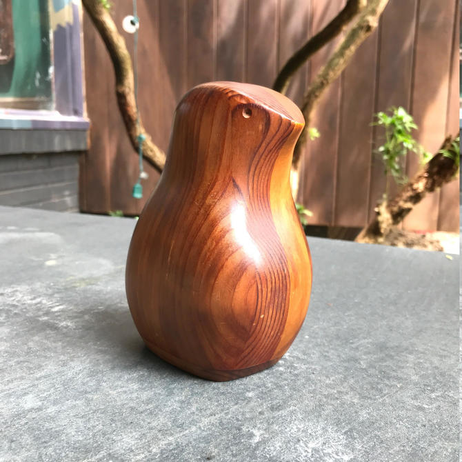 Deborah Bump Staved Wooden Bird Bank Sculpture Vintage Mid-Century Studio Craft by BrainWashington