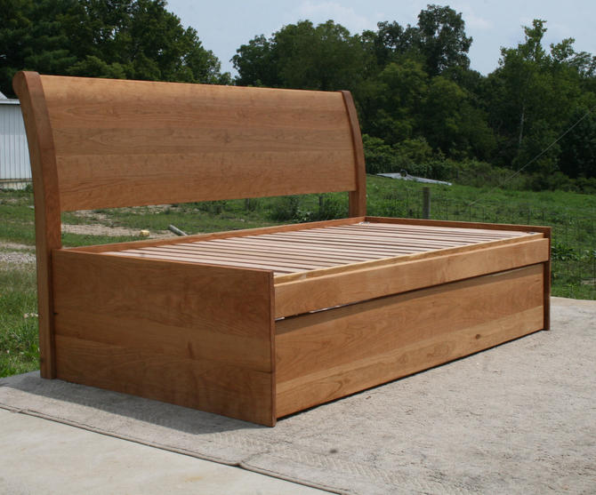 NtRnS1s Solid Hardwood Platform Bed with Pull Lift Trundle with Sleigh Back Board, natural color by SolidCherryHeirlooms