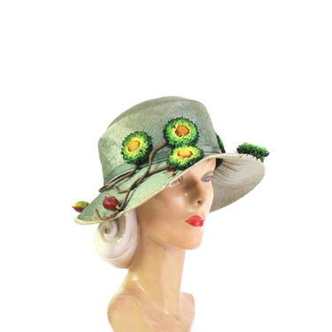 Edwardian Cloche Hat - Womens Edwardian Cloche - Antique Cloche Hat - 1900s Green Hat - Edwardian Green Hat - Antique Floral Hat - 1920s Hat by VeraciousVintageCo