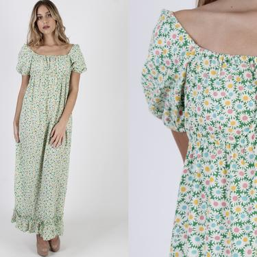 Vintage 70s Green Daisy Floral Dress Womens Long Off The Shoulder Porch Dress 1970s Prairie Sunflower Lawn Maxi Dress by americanarchive