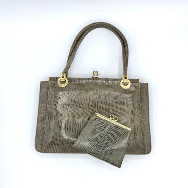 Vintage 1960s Taupe Lizard Handbag, Genuine Lizard Skin Purse with Coin Purse, Chic Mid-Century Top Handle Purse by RanchQueenVintage