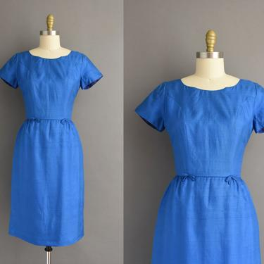 1950s vintage dress | Gorgeous Royal Blue Silk Cocktail Party Wiggle Dress | Small | 50s dress by simplicityisbliss
