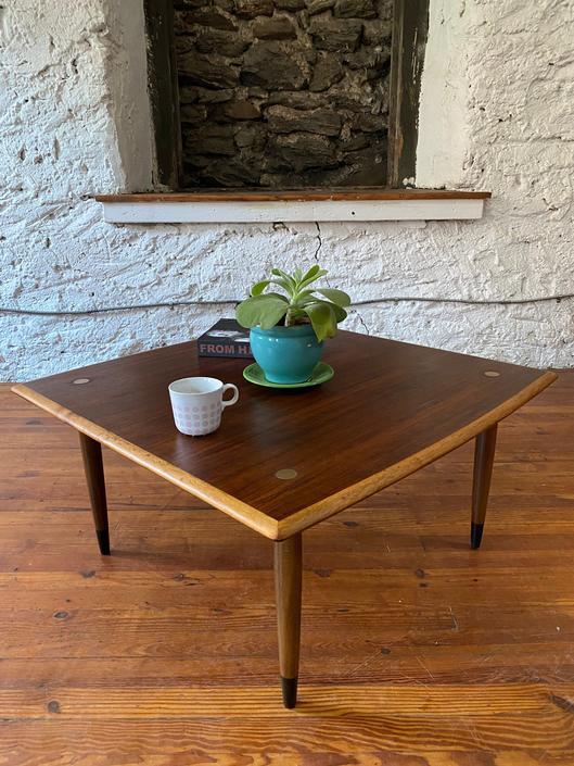 Mid century coffee table Dux Teak coffee table Scandinavian coffee table by VintaDelphia