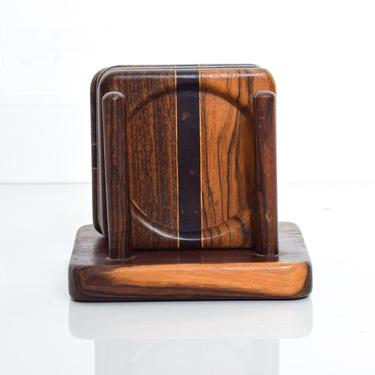 Mid Century Modern Set of 4 Coasters by Don S Shoemaker Cocobolo Wood by AMBIANIC