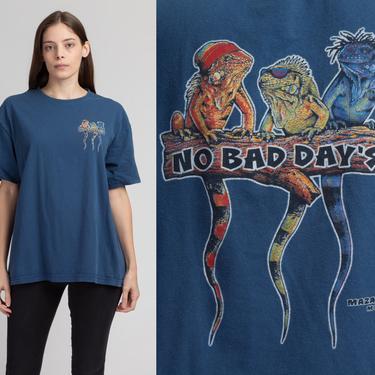 "90s Mexico Iguana Tourist T Shirt - Extra Large   Vintage ""No Bad Days"" Blue Graphic Travel Tee by FlyingAppleVintage"