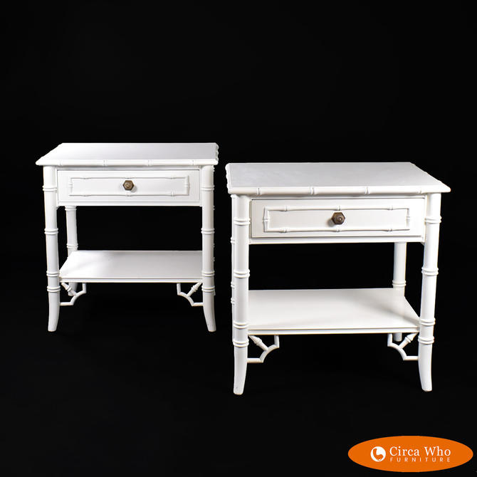 Pair of Faux Bamboo White Side Tables
