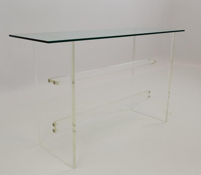 Italian Mid Century Modern Lucite Pedestal Glass Shallow Console Table - mcm by ModernHill