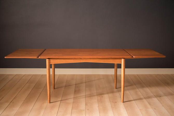 Vintage Danish Extendable Teak and Oak Draw Leaf Dining Table by MidcenturyMaddist