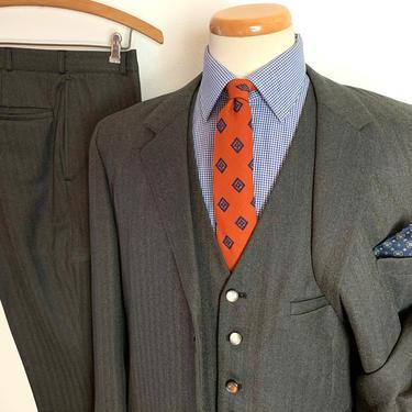 Vintage 1960s/1970s Bespoke WOOL TWEED 3pc Suit ~ 40 to 42 Long ~ vest / waistcoat ~ pants / jacket / sport coat ~ Preppy / Ivy Style / Trad by SparrowsAndWolves