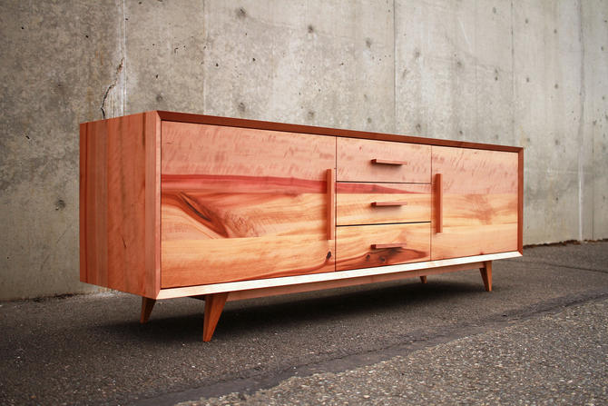 Hein Modern Console WITH DRAWERS, Modern Media Console with Drawers, Modern Wood Console (Shown in Madrone) by TomfooleryWood
