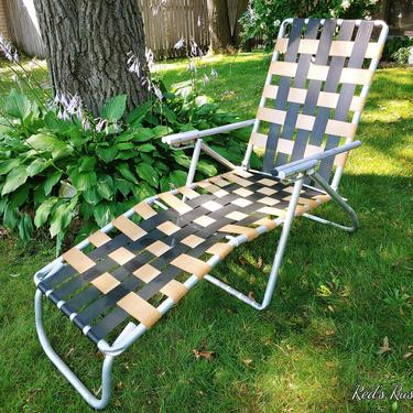 Vintage Brown and Cream Webbed and Aluminum Folding Garden/Lawn Lounge Chair by RedsRustyRelics