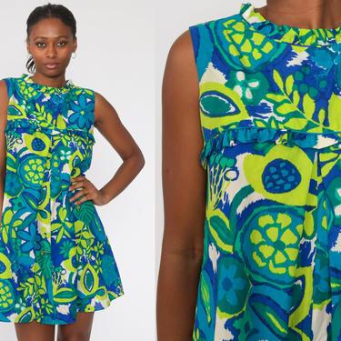 Tropical Hawaiian Dress 60s Green Blue Mod Mini Dress Shift Floral Boho Tiki Psychedelic Vintage Minidress 1960s Sleeveless Small S by ShopExile