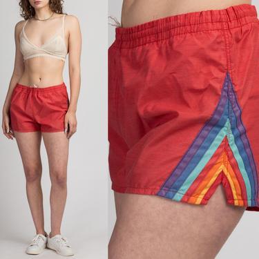 Vintage 80s Rainbow Striped Swim Shorts - Men's Medium, Women's Large   Red High Waisted Surf Trunks Unisex by FlyingAppleVintage