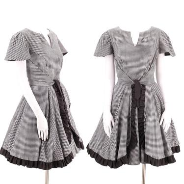 50s style Western  cotton full skirt dress L  / vintage 60s 70s SACKS black gingham check pin up mid century sundress by ritualvintage