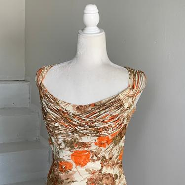 WOW Incredible Design MCM Cocktail Dress with Details Orange and White Abstract Vintage 34 Bust by AmalgamatedShop