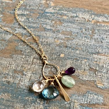Harmony Necklace/ 14k Gold Filled with a Pendant of Gemstones