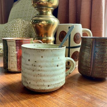 Vintage Stoneware, Studio Pottery, Handmade Mug - Neutral, Speckled, Boho, Coffee Mug, Tea Mug, Cozy Rustic Farmhouse, Gift by VenerablePastiche