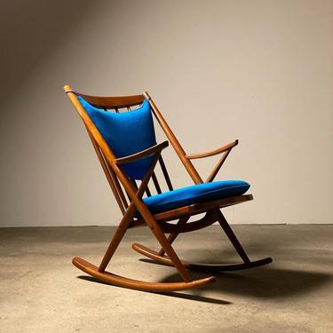 Bramin Solid Teak Rocking Chair by Frank Reenskaug by midcenTree