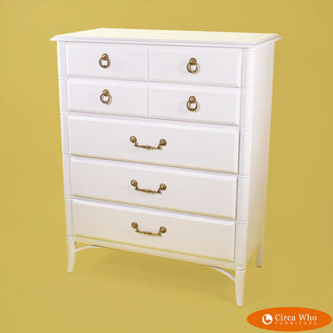 Faux Bamboo White Chest