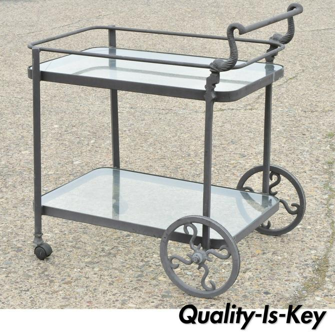 Cast Aluminum 2 Tier Rolling Bar Tea Cart Server Table with Fish Dolphin Handle
