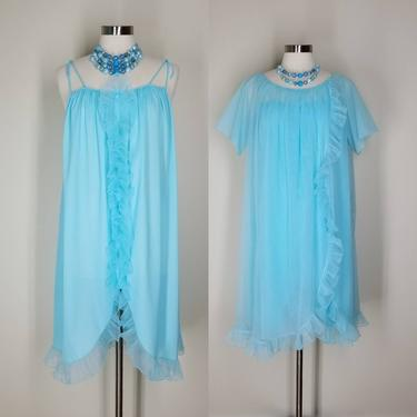 Vintage 60s Blue Chiffon Peignoir Set, Large / Sheer Babydoll Nightgown and Robe Lingerie Set / 1960s Ruffled Free Bust Pinup Nightie by SoughtClothier