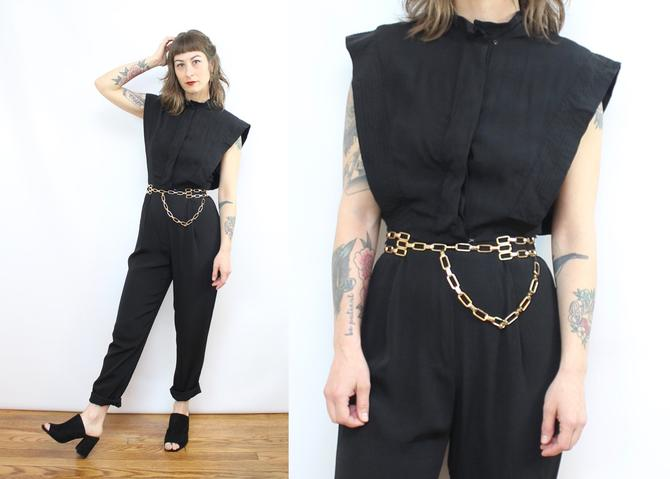 Vintage 80's Black Rocker Jumpsuit / 1980's Rayon Jumpsuit / Women's Size XS Small by RubyThreadsVintage