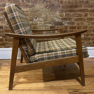 Vintage mid century American Danish lounge chair solid wood beautiful condition plaid cushions by symmetrymodern