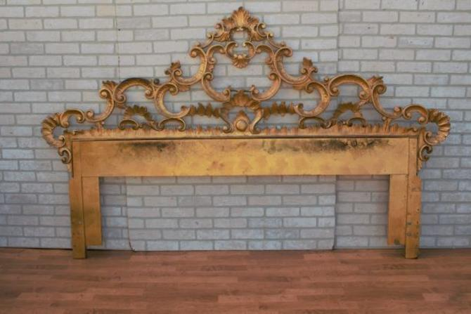 Vintage Italian Rococo Style Carved Giltwood King Size Headboard