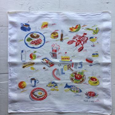 Calories handkerchief | Vintage Phila Webb handkerchief | 1950s novelty food theme cotton hanky by BeeandMason