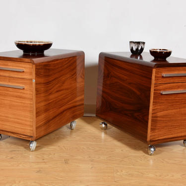 Pair Danish Modern Rolling File Cabinets in Rosewood