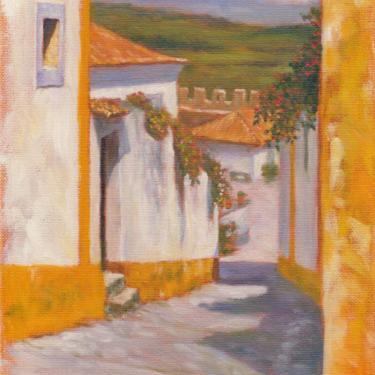 Obidos, Village in Portugal. Art Print from Original Oil Painting by Pat Kelley. Travel Art, Landscape, Cottage Decor, Impressionist Art by PatKelleyStudio