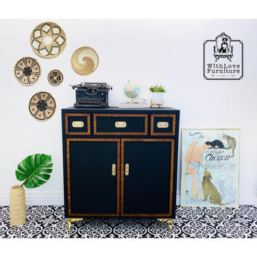 Mid Century Modern Campaign style Armoire. Vintage MCM Dresser. Modern Farmhouse Petite Wardrobe Chest. Minimalist Bedroom Furniture by withlovefurniture10