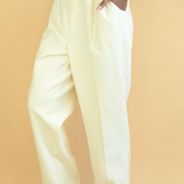 Vintage Ivory Wool Pleated Pants Trousers by MAWSUPPLY