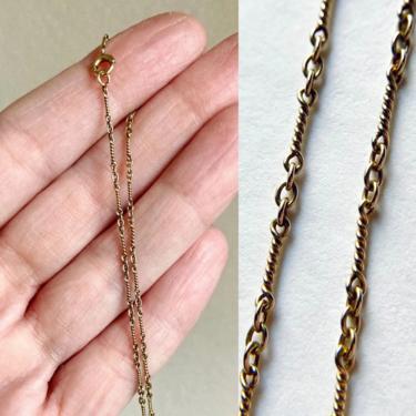 """Delicate Antique Art Deco 14.25"""" 14K Gold Twist Dog Bone Chain Choker Necklace by templeofvintage"""
