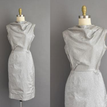 1960s vintage dress | Sparkly Silver cocktail Party Pencil Skirt Bridesmaid Wedding Dress | Medium | 60s dress by simplicityisbliss