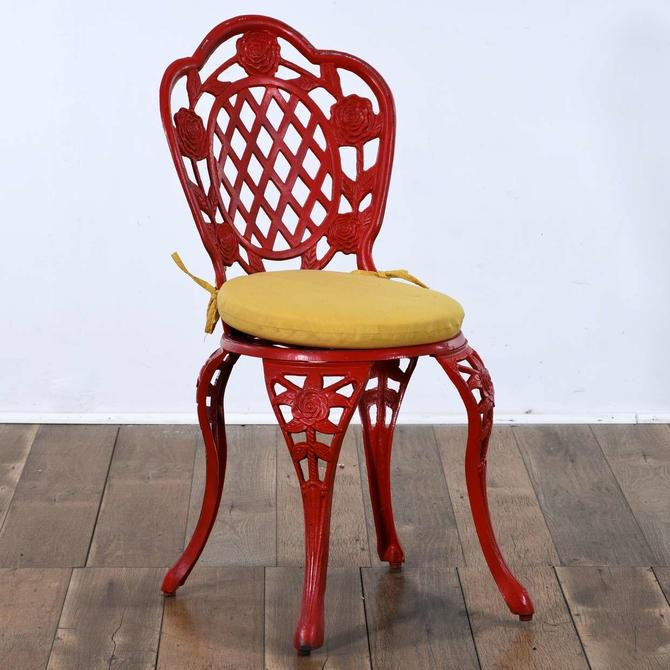 Red Cast Metal Patio Chair 2