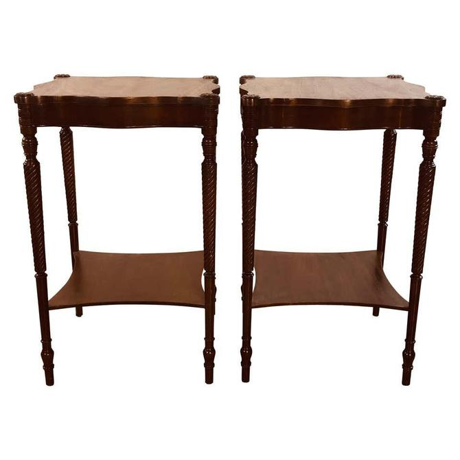 Vintage Square Mahogany Wood Side Tables, Pair by 2bModern