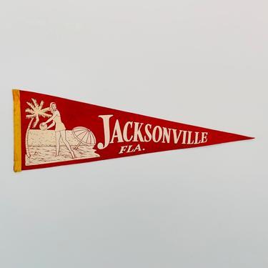 Vintage Jacksonville Florida Souvenir Pennant by DelveChicago