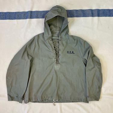 Size Medium Vintage 1940s N-2 US Navy Wet Weather Hooded Parka Jacket by BriarVintage