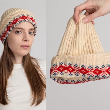 80s Retro Knit Winter Beanie - Small   Cream Red Wool Skull Cap Ski Hat by FlyingAppleVintage