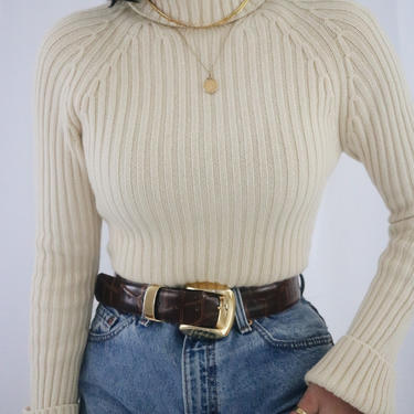 Vintage Cream Cashmere Turtleneck Sweater - Ribbed Chunky Soft + Cozy Sweater - XS/S by LadyLVintageCo
