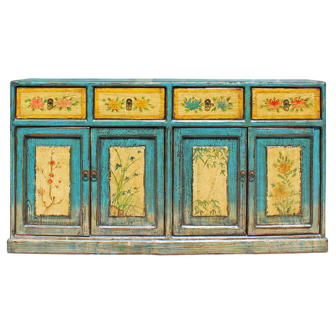 Distressed Rustic Light Blue Yellow Sideboard Console Table Cabinet cs5144E by GoldenLotusAntiques