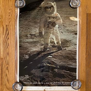 """Neil Armstrong Man On Moon """"One Small One Giant"""" Vintage Original Poster 1969 by MSGEngineering"""