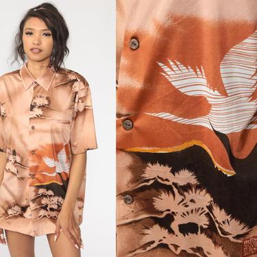 Bird Shirt Boho Blouse 70s Bohemian Top Crane Novelty Print Button Up 1970s Hippie Short Sleeve Vintage Tan Extra Large xl l by ShopExile