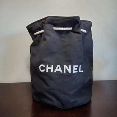 Rare Chanel Lunch Bag Cooler Insulted Drawstring Rope Backpack Vintage 90s Classic Designer by BellsAndWhistlesEtc